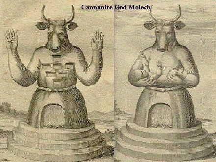"""Немецкая иллюстрация Молоха 18-го века (""""Der Гетце Молох"""" i.e Молох, ложный бог). Во многих изображениях, огненный алтарь Молоха находился в """"Животе Зверя"""""""