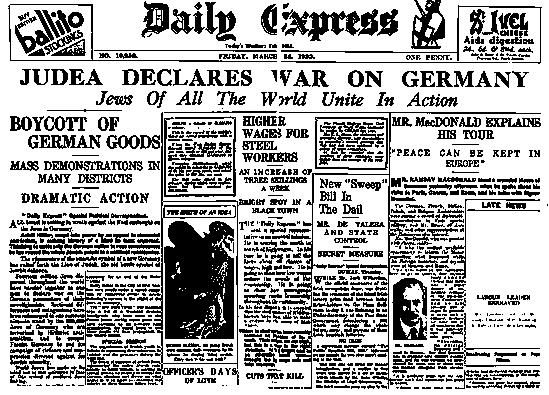 'Иудея объявляет войну Германии' - Daily Express, Пт 24 марта 1933.