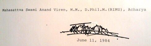 Osho (Bhagwan Shree Rajneesh) Title Certificate issued to Mahasattva Anand Veeren (Viren), Acharya