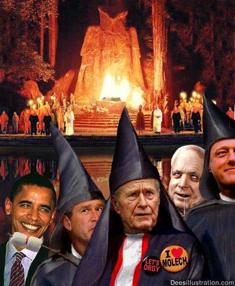 "Bohemian Grove ""cremation of care"" ritual sacrifice ceremony - I love molech (moloch) and U.S. presidents - members of secret societies"