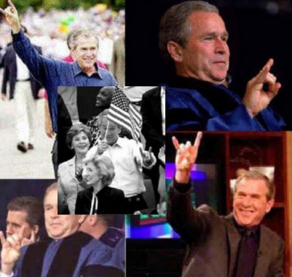 Джорж Буш показывает сатаниский знак руки - «Мано Корнуто»