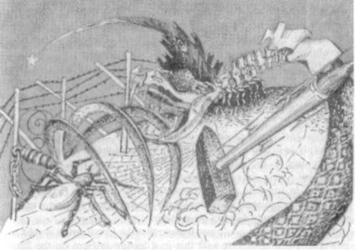 СиоНацистский змий пожирает мир - концентрационные лагеря, скелеты, серпы и разрушение