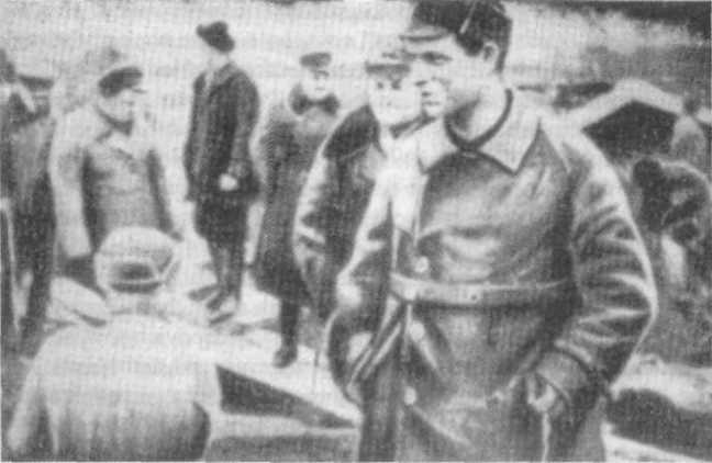 Boris Berman inspects the prisoners' work by the White Sea Canal.