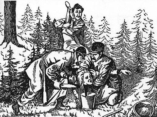 Ритуальное убийство юноши путем кровопускания